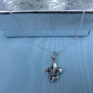 Jewelry - NEW- Sterling Silver Fleur de Lis Charm Necklace